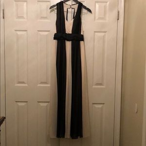 Max and Cleo black/cream chiffon gown